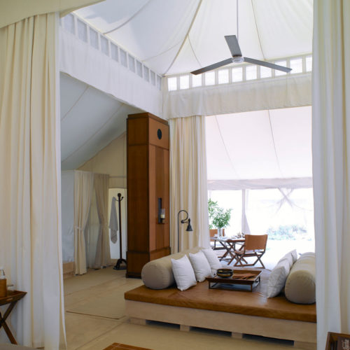 Image of a luxury tent bedroom at the aman-i-khas resort