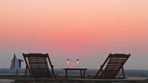Greaves India honeymoon setting with champaign at sunset