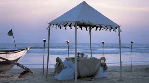 Private dinner on the beach at Taj Exotica Resort and Spa, Goa