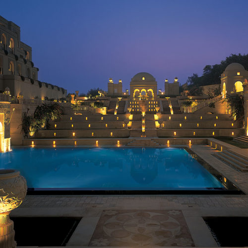 The Oberoi Amarvilas pool at night