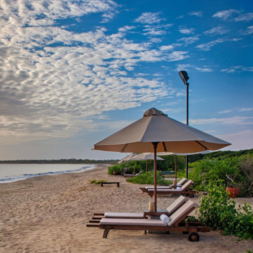 Deck chairs on a beach
