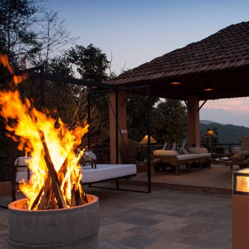 Fire in the evening at Dwarikas resort Nepal