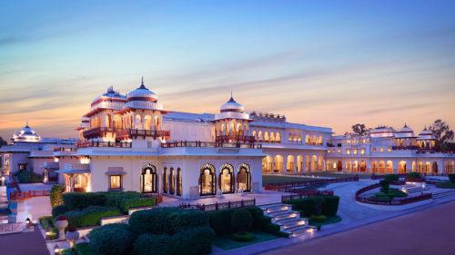 Taj Rambagh Palace at sunset