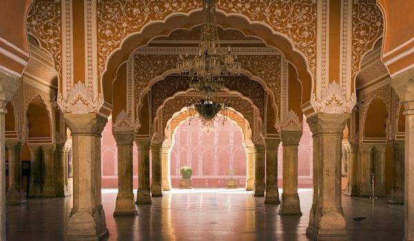 royal hall in Jaipur palace, India