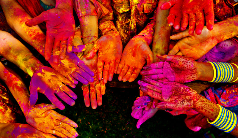 India with Children | painted hands www